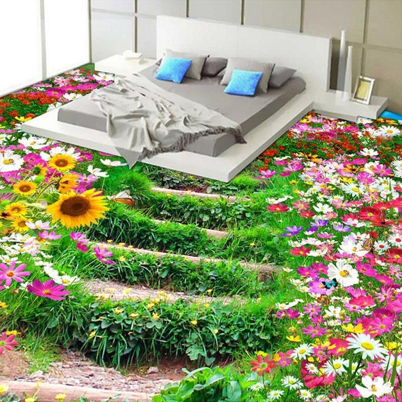 Custom 3d Floor Wallpaper Flowers Road Bathroom Kitchen