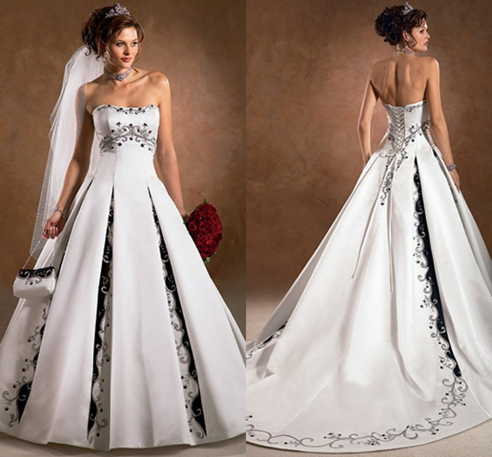 Black And White Wedding Gowns: Elegant Embroidery Embellishment Ball Gown Traditional
