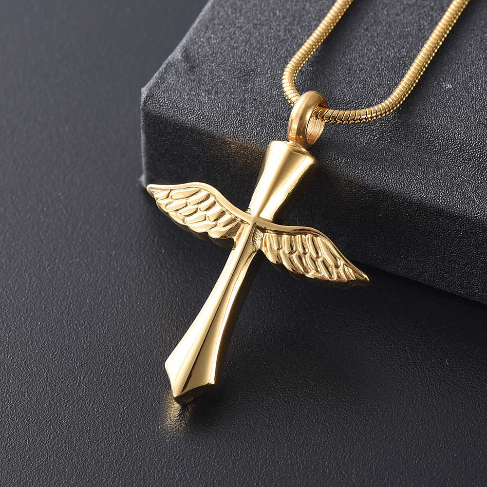 Ijd9654 Gold Angel Wing Cross Keepsake Memorial Urn Necklace For Ashes Of Loved One Mini Cross Wing Cremation Jewelry Pendant Aliexpress