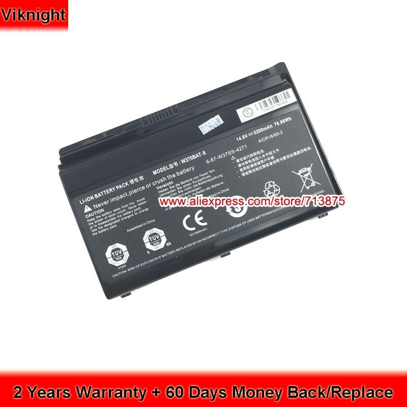 Laptop Battery W370BAT-8 (SIMPLO) 6-87-W37SS-427 W350ET for W370ET Clevo W350ETQ W350ST w35xss-370ss original rechargeable clevo w370bat 8 li ion battery 6 87 w370s 4271 6 87 w37ss 427 k590s laptop battery 14 8v 5200mah 76 96wh