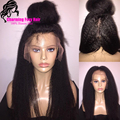 Mongolian Coarse Yaki Straight Full Lace Human Hair Wigs Kinky Straight 150 Density Lace Front Wigs Virgin Human Hair Yaki Wigs