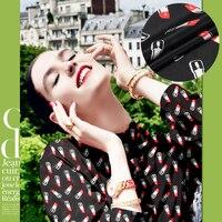 114cm Wide 12mm Lipsticks Print Black Silk Crepe De Chine Fabric For Dress Shirt Clothes D071