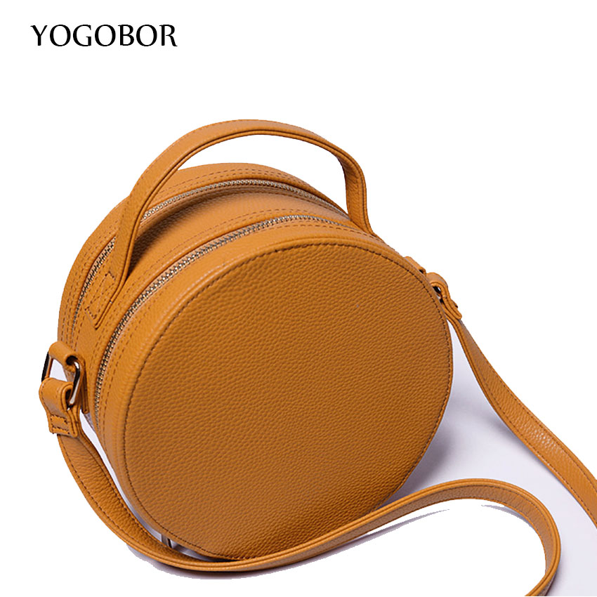 ФОТО 2016 New Fashion women bag solid Round PU Leather Cross body Bag Messenger Bag Ladies Cute roll Shoulder Bag black blue BROWN