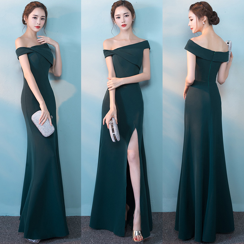 Slim solide femmes vert robe de soirée pleine longueur Sexy amélioré Cheongsam Noble célébrité Banquet robes de haute qualité Satin robes