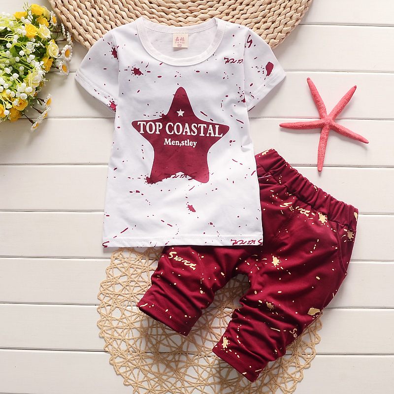 2016 children round collar fashion summer two short sleeve + pants suit T14 1526263114