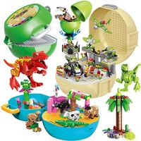 Variety Jurassic dinosaur building blocks storage box building blocks Jurassic simulation dinosaur set ornaments