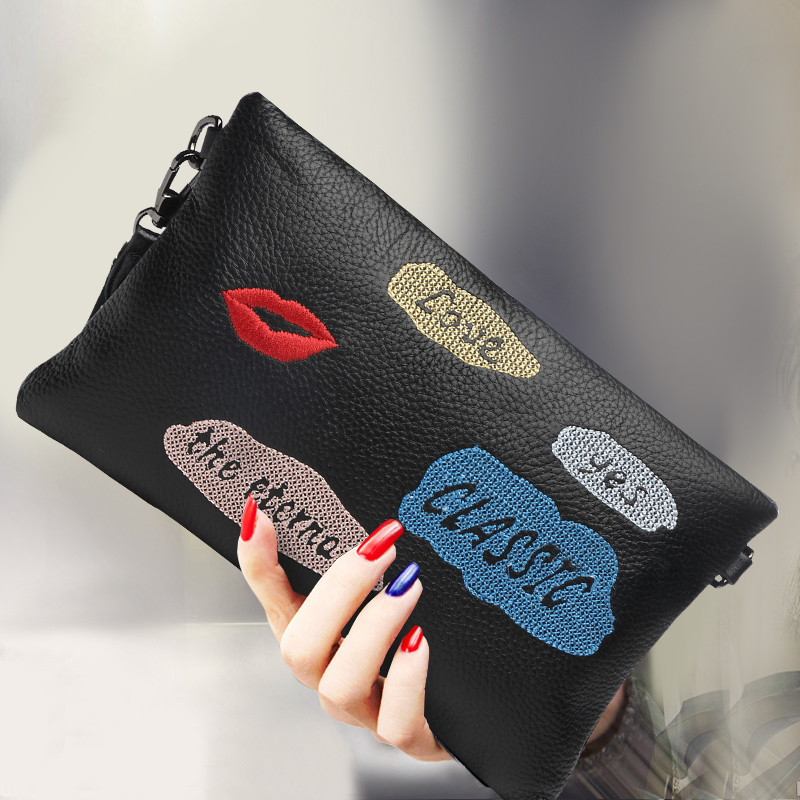 High Capacity Women Genuine Leather Purse Hand Clutch Bag Wristlets Ladies Wallet Long Chains Envelope Evening Bag Shoulder Bag bags for women 2017 ladies cheap handbags crocodile silver clutch envelope evening purse leather shoulder woman clutch hand bag