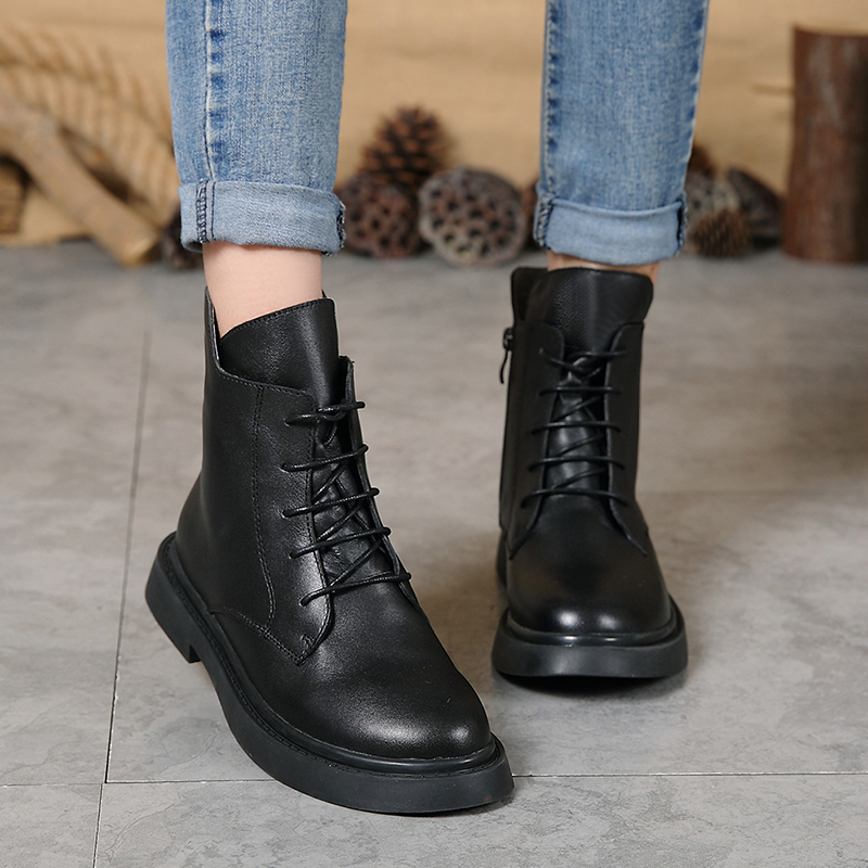 Winter Fashion Black Ankle Booties For Women Europe Lace Up Round Toe Natural Leather Lady Shoes