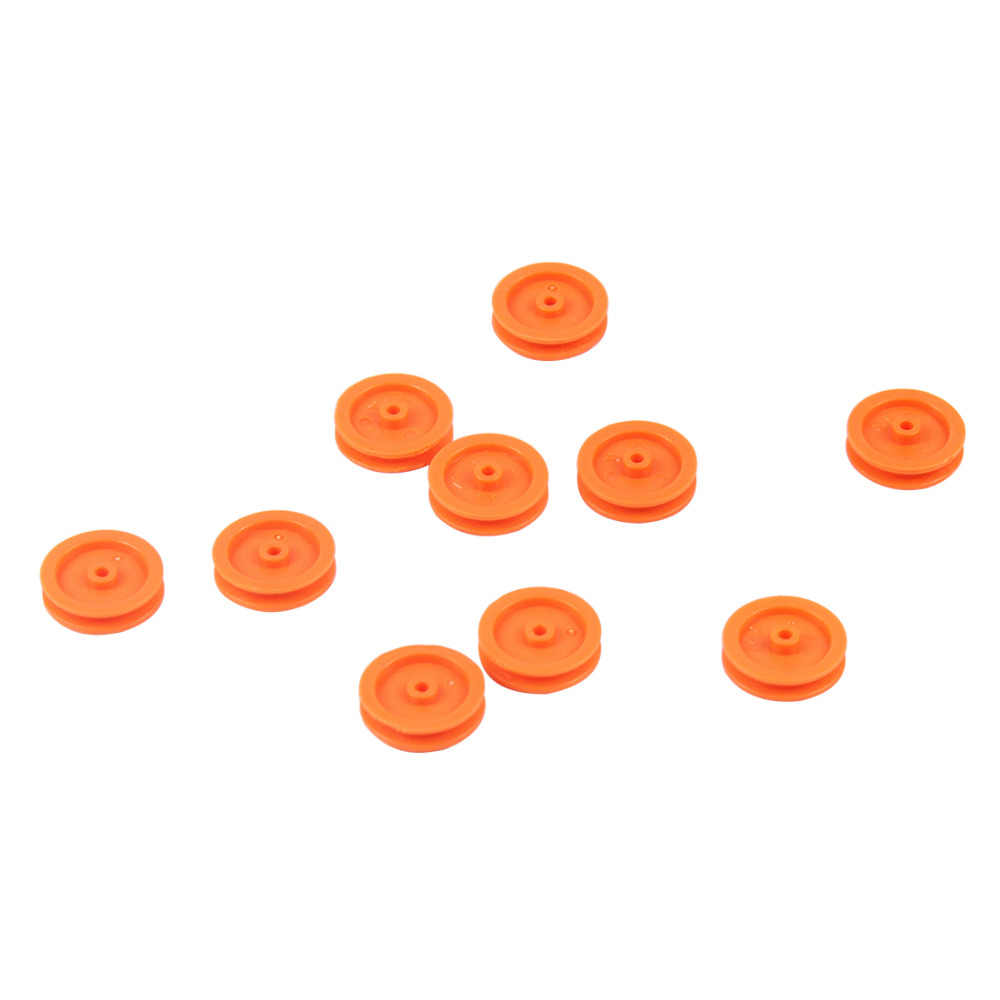 10 stuks Kleine Gele Plastic Katrol Wiel Motor Katrol 2*17mm DIY Speelgoed accessoires voor Mini Auto Educatief speelgoed
