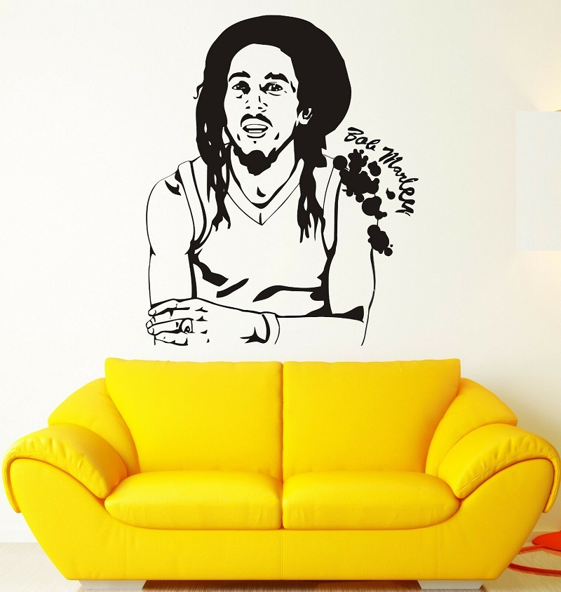 Wall sticker Bob Marley reggae music weed Rasteria Faria vinyl decal poster home bedroom art design decoration 2YY22 in Wall Stickers from Home Garden
