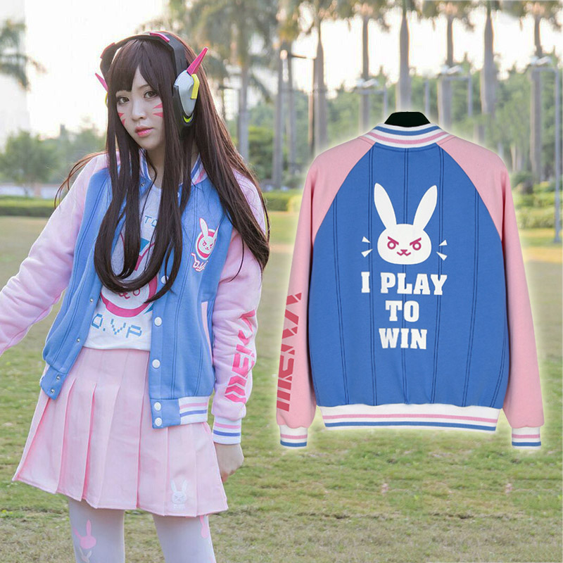 2017 Autumn Kawaii Women D va Jacket D va Sweatshirt Hoodies Dva Baseball Coats D va