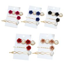 Fashion Women Hairpins Set Girls Bangs Word Clip Multicolor Artificial Pearl Candy-colored Roses Rhombus Hairpin New