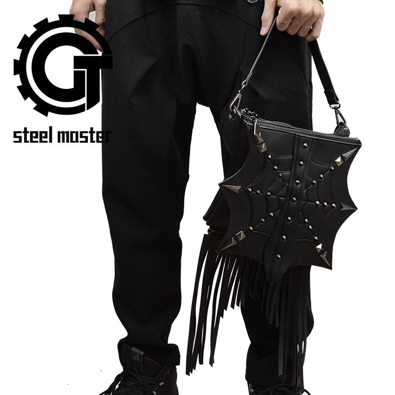 Gothic Steampunk Retro Rock Bag Fashion Men Women Tassel Shoulder Bag Phone Case Holder Black PU Leather Messenger Bag 2018