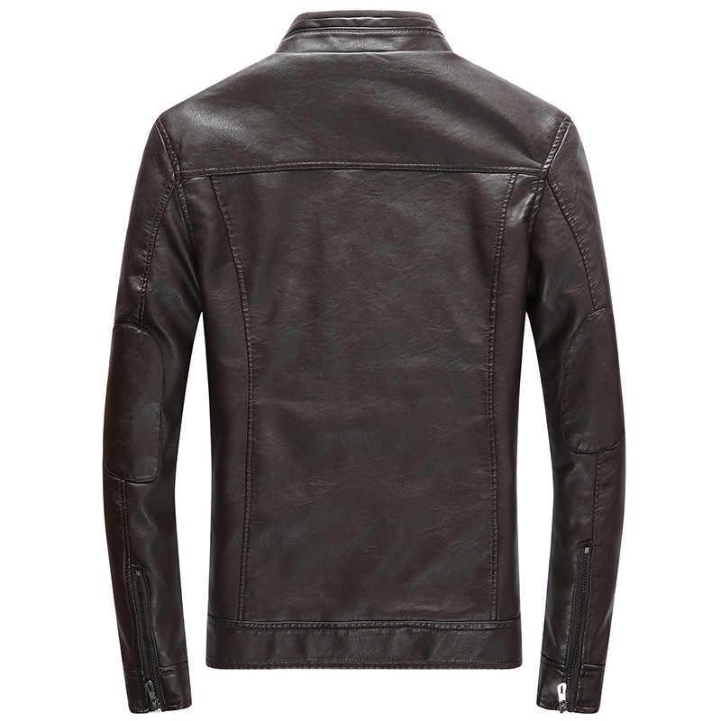 Fleece Plus флисовая мужская кожаная куртка мотоциклетная мужская кожаная куртка модная повседневная с воротником-стойкой однотонные тонкие мужские кожаные куртки