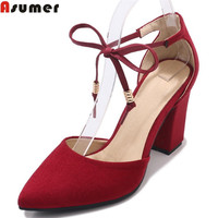 ASUMER black red fashion spring autumn shoes woman square heel cross tied elegant women high heels shoes plus size 33 46