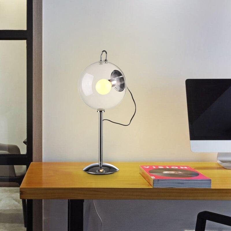 Настольная лампа прикроватная тумбочка для спальни современная мода Творческий Настольная лампа Простой Личность прозрачный стеклянный ш...