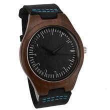 Relojes de Lujo de Los Hombres de madera De Madera De Bambú de Las Mujeres Reloj de Cuarzo relojes de Pulsera de Cuero