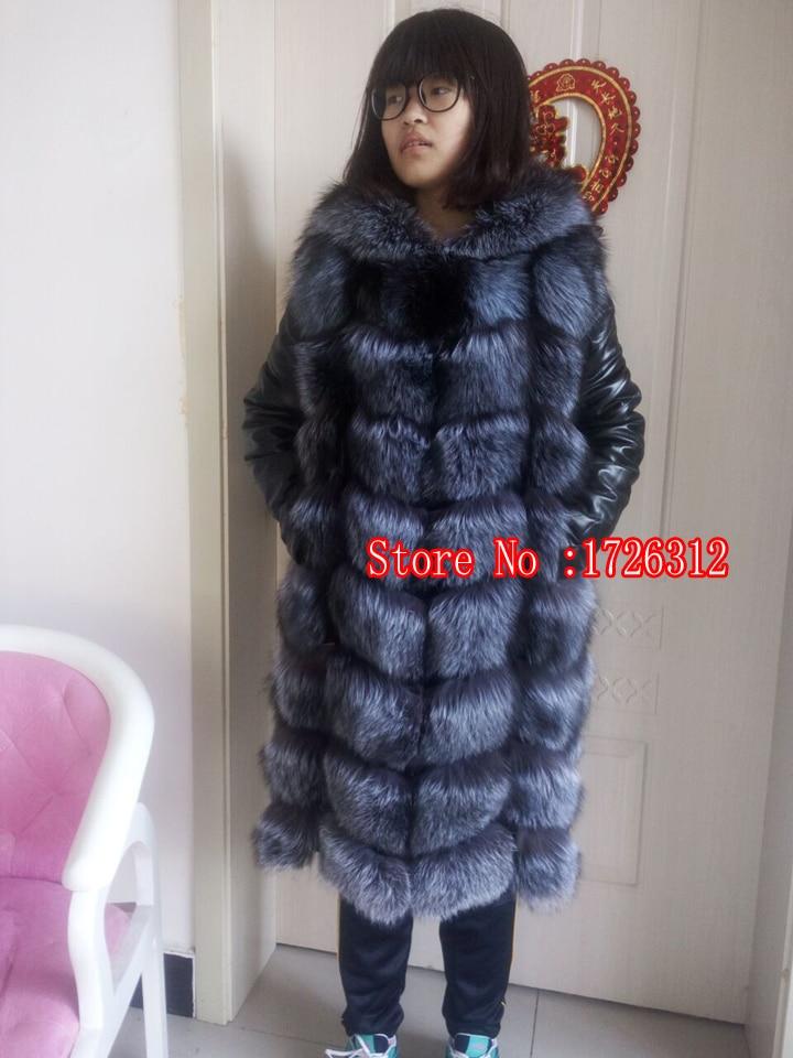 Geacă de blană de vulpe din blană autentică, haină lungă din - Îmbrăcăminte femei