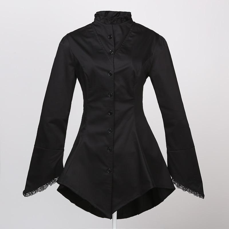 81869d1cb تصميم طويلة ملابس النساء سترة سوداء مع الدانتيل القوطي steampunk الطراز  القوطي مصاص دروبشيبينغ بالجملة ل حزب النادي