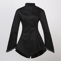 long design gothic clothing women jacket black with lace steampunk goth vampire style dropshipping wholesale for party club
