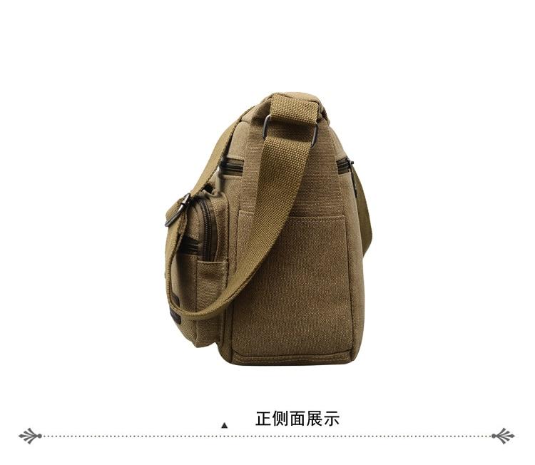 Preppy Style Shoulder Bag 100/% Cotton Solid Contracted Joker Messenger Bag for Men More Zippers Crossbody Bag Black Leisure Bag