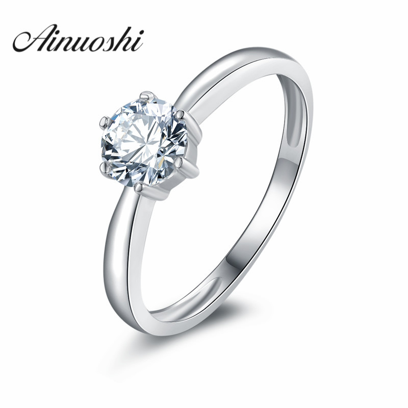 hot sale round cut sona solitaire wedding rings women 925 sterling silver engagement rings white gold - Wedding Rings On Sale