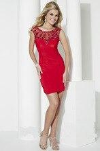 Günstige Sexy Durchsichtig Sheer Zurück Red Short Prom Kleid Vestidos De Festa Schnelle Versand Cocktail Party Kleider In China
