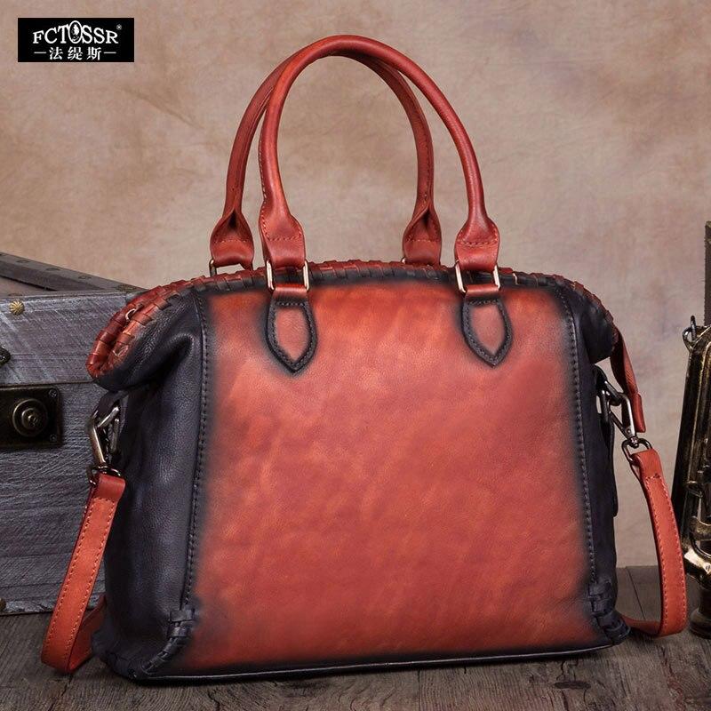 빈티지 우아한 여성 가방 수제 정품 가죽 어깨 가방 여성 거리 레저 메신저 가방 대용량 핸드백-에서숄더 백부터 수화물 & 가방 의  그룹 3
