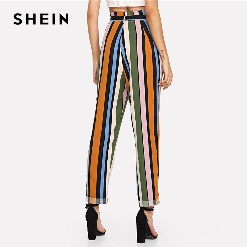 SHEIN Multicolor Elegant Minimalist Office Lady Workwear Streetwear Belted Rolled Up Hem Striped Pants Autumn Casual Trousers