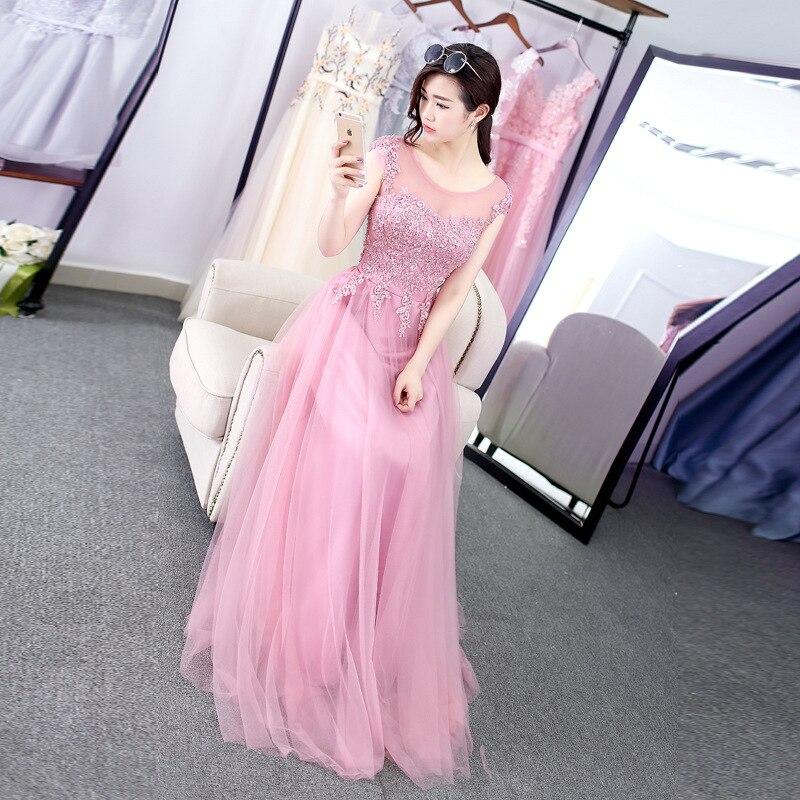 2019 printemps nouvelle mode femmes robe de soirée Illusion o-cou une ligne robe de bal Appliques perles robes de Banquet rose