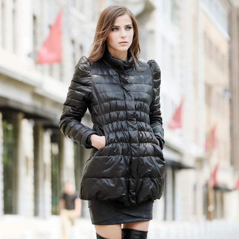 2013 Hot Sale Stand Collar Shrug Slim High Waist Long Down Jacket Womens Brand Designer Fashion Down Coat Free Shipping H1227