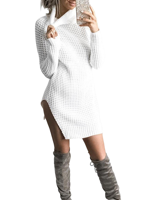 eea65470388 Autumn Winter Women Knit Dresses Side Split Turtleneck Knitted Dress Long  Sleeve Vestidos Sweater Dress Black