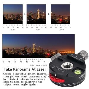 Image 5 - Andoer PAN 60H Alüminyum Alaşım Panoramik Ball Head Tripod Başkanı ile İndeksleme Rotator, AS Tipi Kelepçe