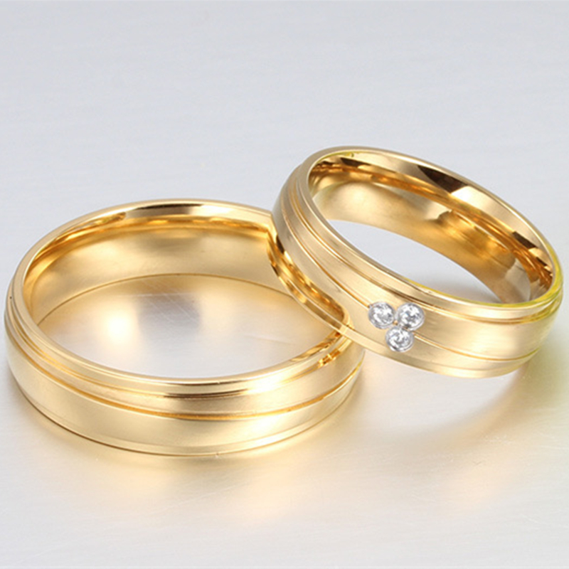Cubic Zircon Jewelry Stainless Steel Rings For Women Men Gold Color Ring Wedding Engagement In From