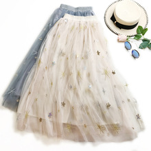 Sweet Embroidered Women High Waist Tulle Mesh Star Embroidery Pleated Floral Girls School Skirts Snowflake Printed