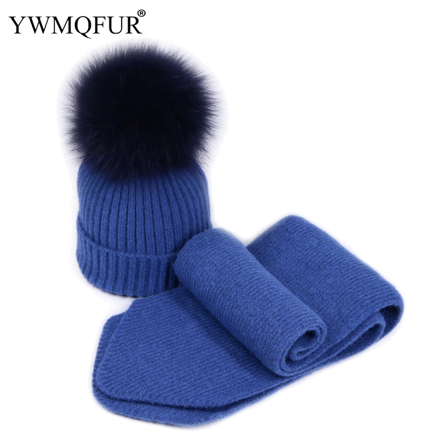 YWMQFUR Winter Warm Hats Scarf Sets For Women Solid Vintage Knit Lady Skullies Hat With Fox Fur Ball Female Beanies Caps Scarves