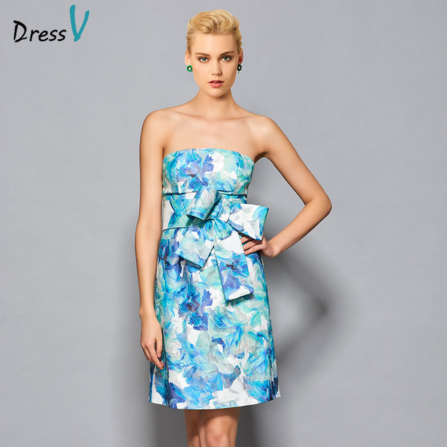 Dressv bowknot floral print mini cocktail dress strapless sleeveless sheath short formal cocktail dresses above knee party dress