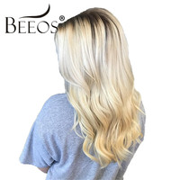 Beeos #4/613 Ombre Blonde Wavy Human Hair Wigs for Women Hand Tied Glueless Full Lace Wigs Malaysia Remy Human Hair Pre Plucked