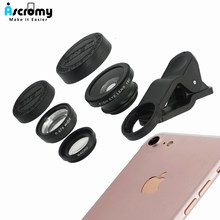 Ascromy Universal 3 in 1 Camera Lens Kit Wide Angle Macro Fish Eye Len For iPhone Samsung Xiaomi Huawei Phone Clip Accessories(China)