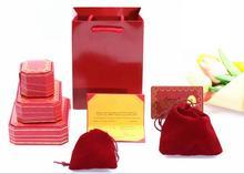 Prix bas couleur rouge haute qualité bijoux cadeau 30 bracelet boîte avec 30 sacs en papier et 30 certificats ensemble