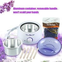 Hair Removal Hot Paraffin Wax Pot Warmer Heater Spa Depilatory Epilator Strips Machine + 300g Lavender Wax Bean + 5*Spatulas