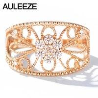 AULEEZE 0.3ctw натуральный бриллиант Настоящее 18 к розовое золото обручальное кольцо винтажное милграм Цветок обручальное кольцо для женщин ювел