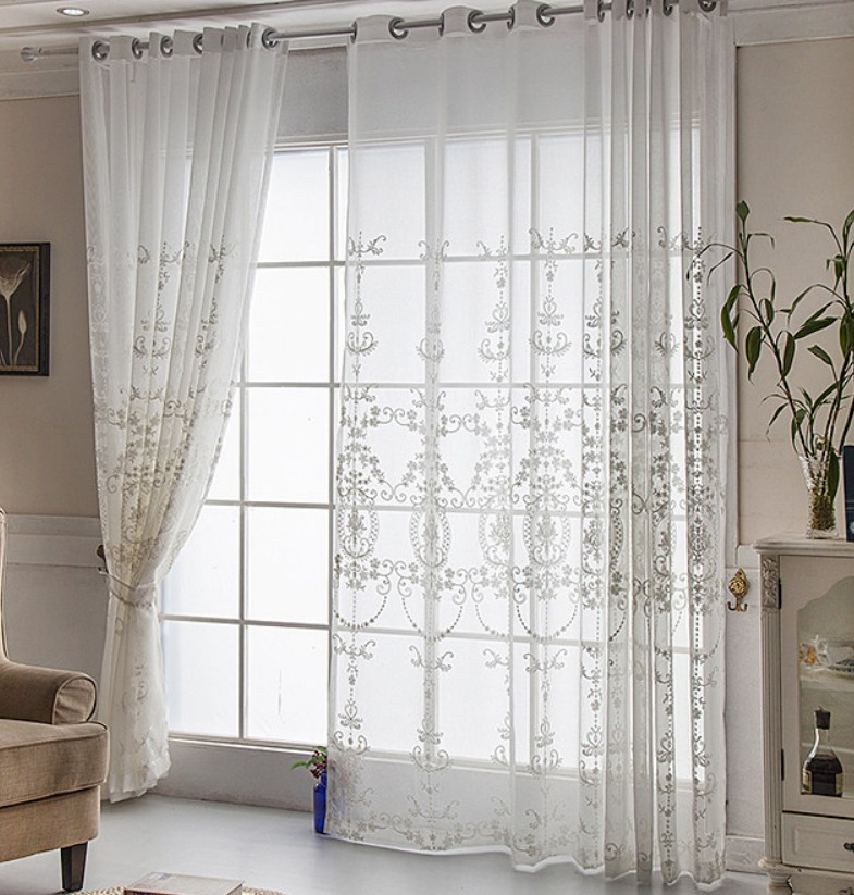 Embroidery White Flower Tulle Curtains For Living Room Dining Room Flower Rose Luxury Bedroom Curtains Sheer Curtain Aa57 Flower Tulle Curtains Curtains Forsheer Curtains Aliexpress