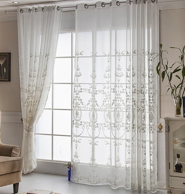 Embroidery White Flower Tulle Curtains For Living Room Dining Rose Luxury Bedroom Sheer Curtain Aa57