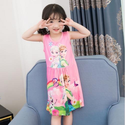 Fashion Summer Soft Girls Dress Nightgown Kids Dresses Night Gown Pajamas Dress Sleepwear Pyjamas Clothes Princess Dress KH39