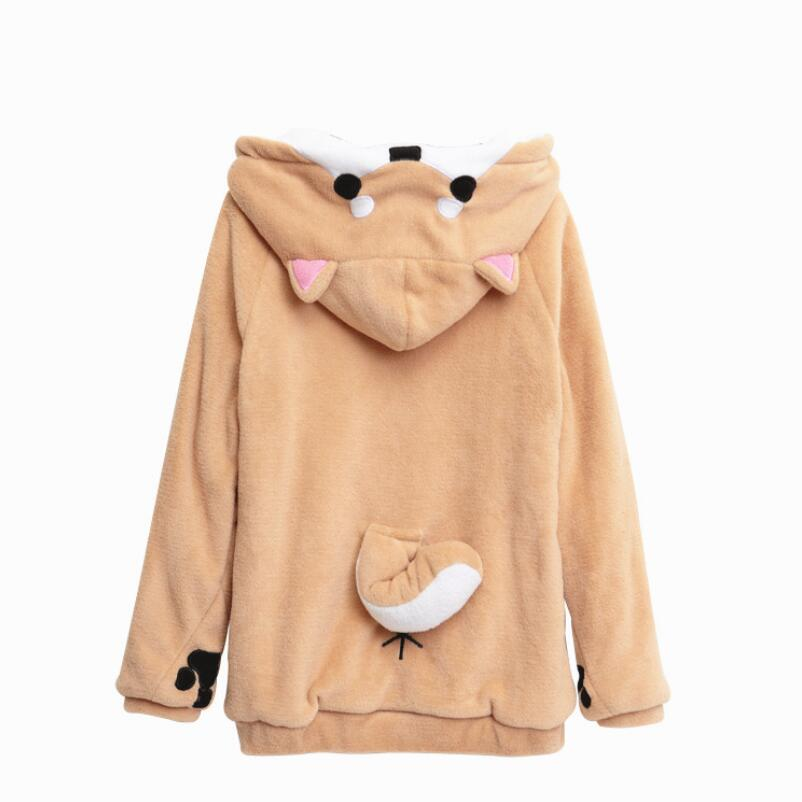 Harajuku Japanese Kawaii Hoodies Women Sweatshirts With Ears Cute Doge Muco Winter Plush Lovely Muco ! Anime Hooded Hoodie S-xxl