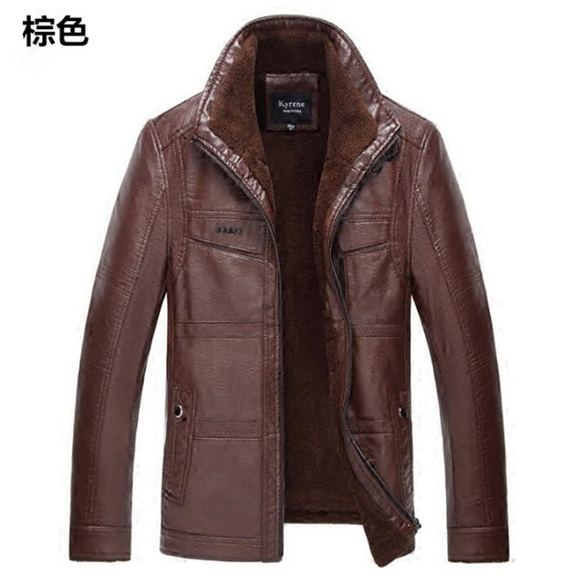 Leather Jacket Men male casual motorcycle leather jacket Mens fashion  coat pilot bomber jacket jackets design stand collar COAT