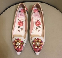 Spring autumn Women's rhinestone pointed toe flat shoes fashion floral print Flats real leather ballets flats BY613