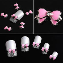 Women Fashion 1pc Multi Rhinestones Bow Tie DIY 3D Nail Art Decoration Stickers Pink Nail Accessories