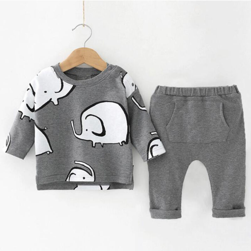 Baby Clothes Spring Autumn New Cartoon Pattern Boys Girls Clothes Sets Cotton Baby Clothing 2Pcs Suit For Kids Clothing